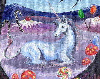 Candyland Unicorn psychedelic winter snow art 5 x 7 or 8 x 10 CHOICE of print kids fantasy, candy, children, magical mushroom fairy tale