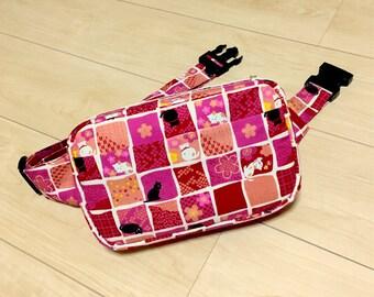 Body Bag / Waist Pouch / Hip Bag --- Ichimatsu - Red