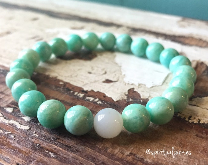 The Mermaid + Moon | Russian Amazonite + Moonstone | Spiritual Junkies | Yoga + Meditation | Stackable Mala Bracelet
