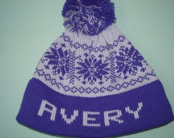 Personalized and machine washable child's knit hat =  Avery or Aubrie