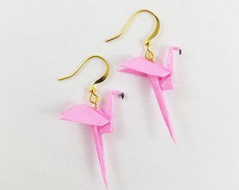 Flamingo Gifts,Origami Flamingo Earrings,Flamingo Gifts,Flamingo Jewelry,Paper Anniversary Gifts,First Anniversary Gift,Gift For Her,Bird