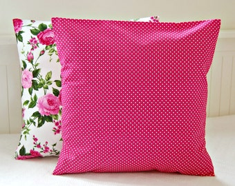 one cerise pink mini polka dot cushion cover, 16 inch pin dot decorative pillow cover