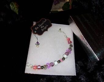 European Style Charm Bracelet #55B, Cancer Ribbon Charm Bracelet, Women's Charm Bracelet, Breast Cancer Awareness Ribbon