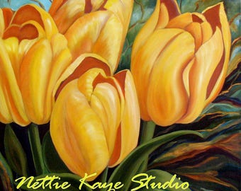OH HAPPY DAY! Original Tulip Painting in oil on canvas 36 x 36