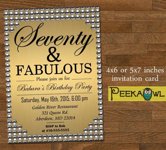 Printable gold pearl 70th birthday invitation card seventy filmwisefo Images