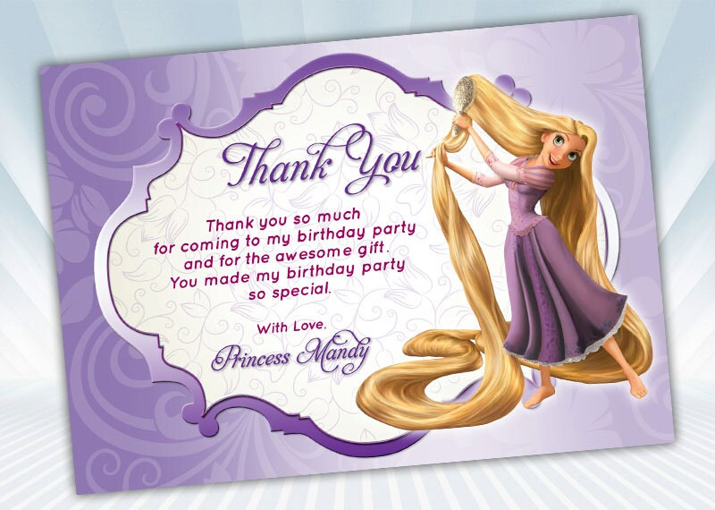 Princess rapunzel thank you card bookmarktalkfo Image collections