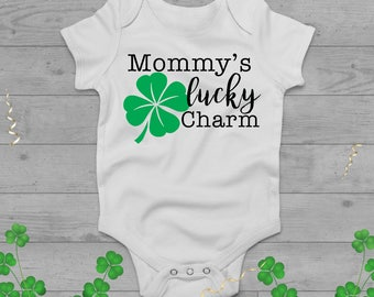 Mommy's Lucky Charm St. Patrick's Day Onesie and Raglan Tee