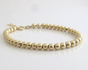 Gold bracelet , gold filled beaded bracelet , gold beads bracelet , gold filled jewelry , summer jewelry ,minimal bracelet ,Dainty bracelet