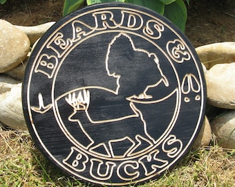 Beards & Bucks -  Routed Wood Disk Man Cave Wall Decor 3D  - Color Options DSK17