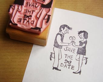 "stamp ""save the date"" couple stamp wedding invitation announcement"