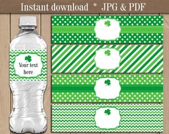 St. Patrick's Day Water bottle labels. Shamrock Water bottle wrappers. Irish theme Party Wedding decor printable. Instant download
