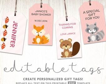 Woodland nursery, woodland creatures, woodland baby shower, gift tag printable, kids party ideas, woodland theme, baby animals theme, PDF