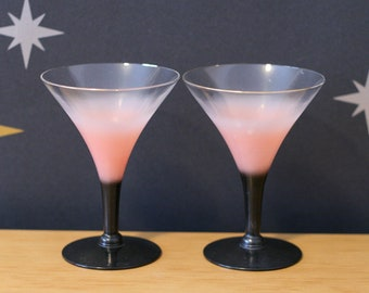 Blendo Pink & Black Martini Glasses / Glassware / Barware / Vintage / 1950's