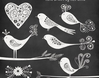 Chalkboard birds and hearts clipart