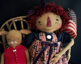 Primitive Americana doll pattern, 16 inch Raggedy Annie, and 9 inch bunny, by Dumplinragamuffin,#PO07