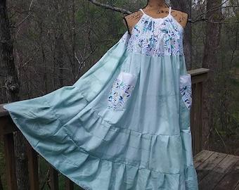 Bohemian Gypsy Sundress, Hippie Summer Festival Dress, Plus Size Tie Dyed Dress, Boho Maxi Beach Dress, Handmade Patchwork Eco Clothing