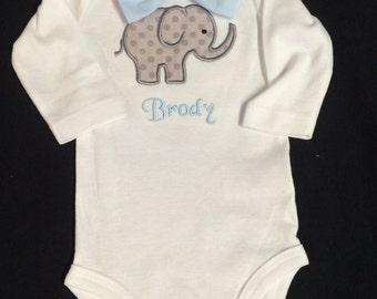 Newborn Baby Boy Personalized Appliqued Bowtie Bodysuit Appliqued Elephant Bodysuit with Detachable Handmade Bow Tie NB 3 months -18 months
