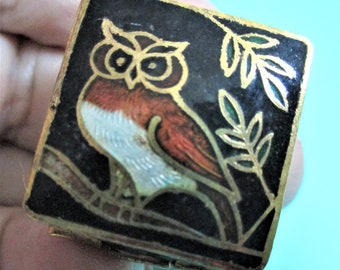 Vintage Cloisonne Pill Box Owl Ring Box Black and Gold Cloisonne Trinket Box Vintage Small Jewelry Box Purse Pocketbook Accessory Vanity