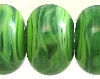 Green Glass Lampwork Bead Set  of 6 Small 11x7mm Spearmint