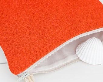 A small handmade fabric crossbody bag in orange linen fabric, an elegant and unique bag, a perfect womens bag gift, an unique gift for her