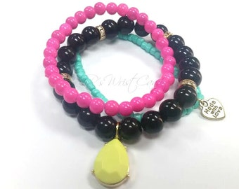 Colorful Beaded Bracelets, Bracelet Trio, Stackable,Womens Jewelry,Stretch,Neon,Charm Bracelet, Handmade, Custom Beaded Jewelry