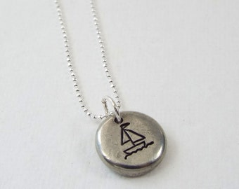 Sail Boat Necklace, Hand Stamped Sail Boat Necklace, Sail Boat Pendant, Sail Boat Charm, Pewter Pebble Necklace, Personalized Necklace