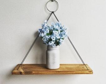Hanging Shelf Cord, Rustic Wood Shelf, Floating Shelf