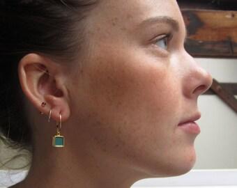 Reversible Enamel and Vermeil Earrings in Teal and Mint Green - Bridesmaid earrings