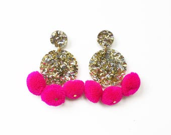 POM POM disk earrings. Gold and silver glitter acrylic, dark pink pom poms.