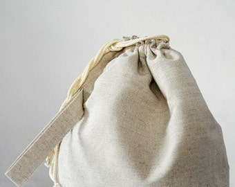 Drawstring bag. Large Knitting Project Bag. Special KnitterBag design.