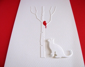 5X7 / Cat Gazing at Single Bird on Bare Birch Tree Creamy Ivory Card / Red Bird As Shown or YOUR Colour Choice / Made to Order