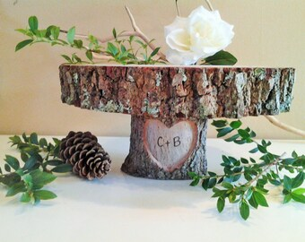 """12"""" Rustic Wedding Cake Stand   - Engraved cake stand - Log slices - Wood round - Heart cake stand -Wood Cake stand - Country wedding"""