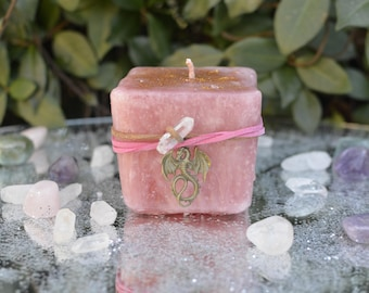 Enchanted Flame Candle, Sparkling Candle, Large Candle, Red Candle, Candle Magic, Fairy Candle, Fairy Magic, Pillar Candle, Floral Candle