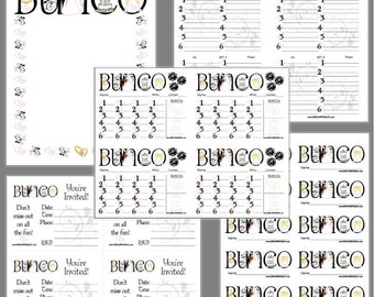 Bridal Bunco Printable Set, Bridal Shower Bunco Score Cards & Tally Sheet, Instant Download, Editable Bunco Invites