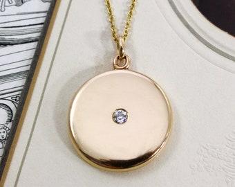 Antique Yellow Gold & Diamond Locket, Edwardian 14k Round Photo Keepsake Necklace, Bridal Jewelry, Engraved Initials W.C.M.