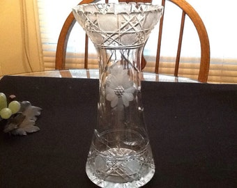 Vintage Etched Hand Cut Crystal Lead Vase