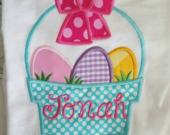 Easter Basket Eggs Personalized Embroidered Appliqued T-Shirt or Onesie
