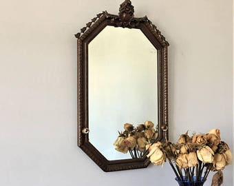 Antique Wall Mirror, Vintage Octagonal Mirror, Powder Room Mirror, Foyer Hall Decor, Plaster on Wood, Looking Glass, Mirror With Knobs