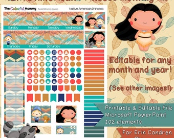 Native American Princess EDITABLE Monthly Planner Sticker Kit | use with Erin Condren Planner | ECLP | Printables | Pocahontas | PowerPoint