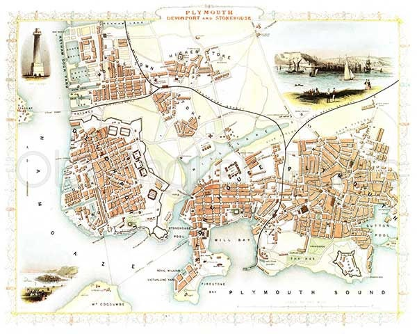 plymouth 1851 antique english town map of plymouth devonport and stonehouse 8 x 10 ins print free pp uk