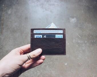 minimal leather credit card case, business card case, leather wallet, card holder
