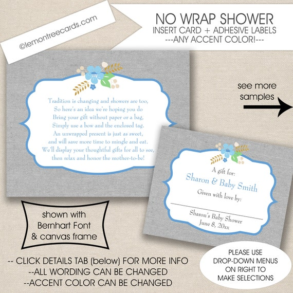 Display Baby Shower: Display Bridal Shower Insert Card And Label Set No Wrap Baby