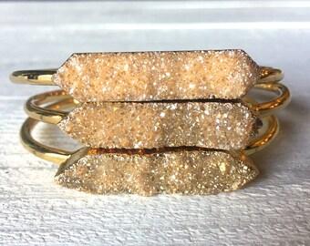 Raw druzy bracelet Raw gemstone bracelet Druzy crystal bracelet Healing crystal bracelet Citrine bracelet Champagne bracelet Druzy jewelry