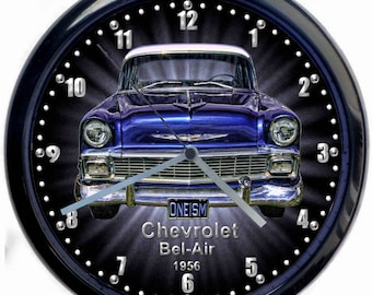 Chevrolet Bel-Air Classic Car Large 10inch Black Wall Clock