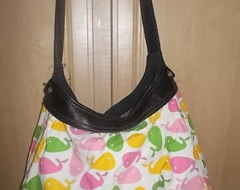 New Thirty-one Purse Skirt for Retired Purse White with Colorful Whales 31 Gifts