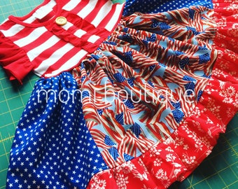 Patriotic flag dress, Fourth of July dress Momi boutique custom dress