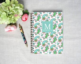 Monogram Spiral Hardback Journal   Personalized Blank Sketchbook   Custom Travel Journal   Paisley Pattern   Artist Notebook   Gift for Her