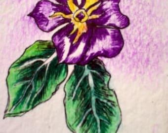 Purple Flower greeting card Blank