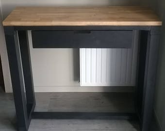 Console with drawer solid oak wood