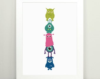 Childrens Wall Art, Monster Art, Childrens Room Decor, Monster Totem